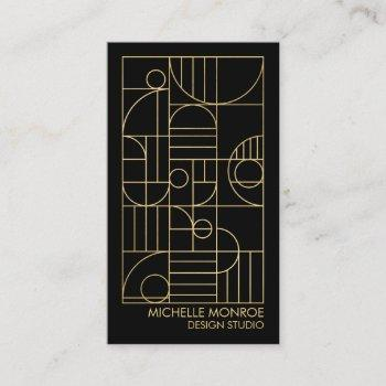 modern geometric art deco faux gold/black designer business card