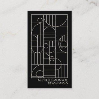 modern geometric art deco gray/black designer business card