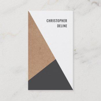 modern geometric kraftpaper grey white consultant business card