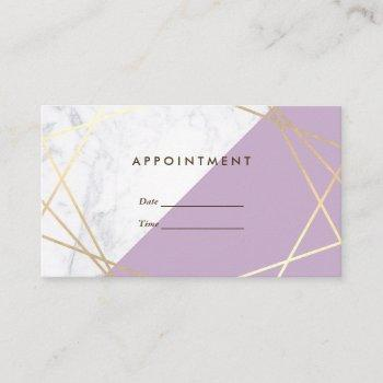 modern geometric lavender marble appointment business card