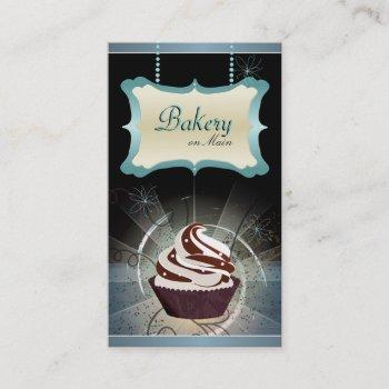 modern glowing bakery & cupcake business card
