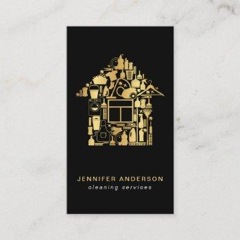 modern gold and black cleaning services business card