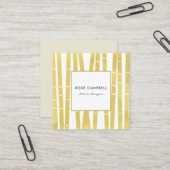 modern gold bamboo grove square business card
