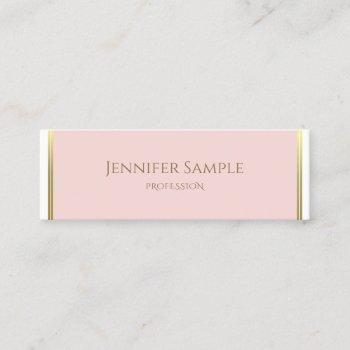modern gold blush pink white luxury template chic mini business card