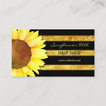 modern gold foil stripes sunflower business cards