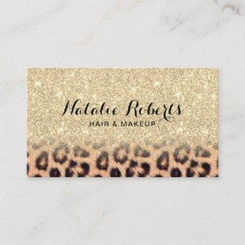 modern gold glitter leopard print beauty salon business card