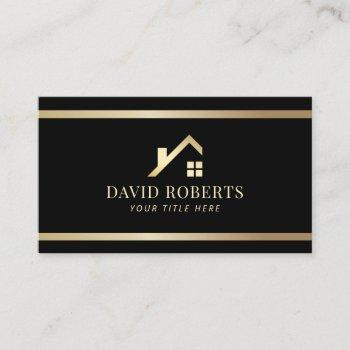 modern gold house logo real estate realtor black business card