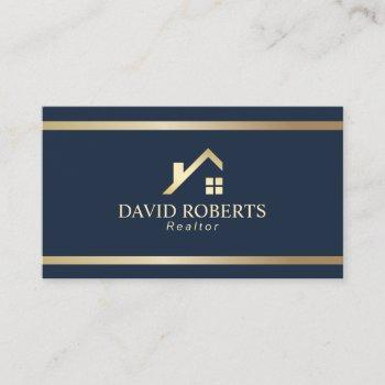 modern gold house logo real estate realtor navy business card