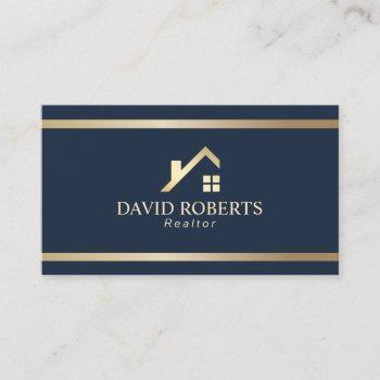 modern gold house logo real estate realtor navy business card