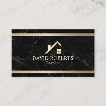 modern gold house real estate realtor black marble business card