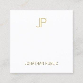 modern gold monogram aesthetic clean plain luxury square business card