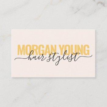 modern gold pink hair stylist script signature business card