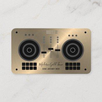 modern gold-tone 2021 dj business card