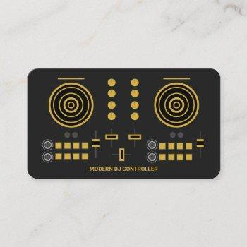modern gold-tone dj controller 2020 business card