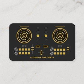 modern gold-tone dj controller business card
