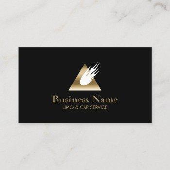 modern gold triangle fireball limousine business card