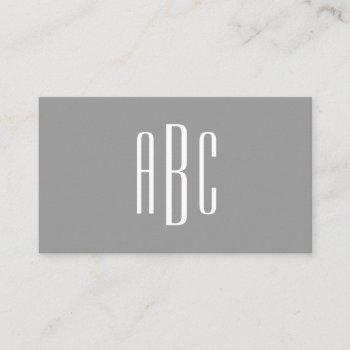 modern gray and white simple three letter monogram business card