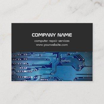 modern gray blue circuit board computer repair business card