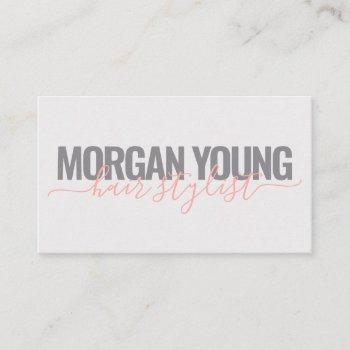 modern gray coral hair stylist script signature business card