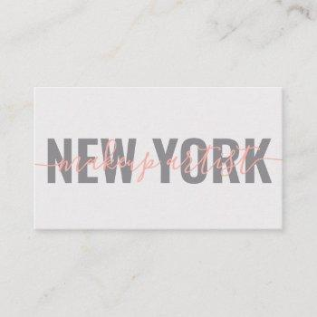 modern gray coral makeup artist script signature business card