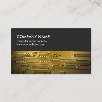 modern gray gold circuit board computer repair business card