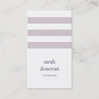 modern gray lilac stripe business card