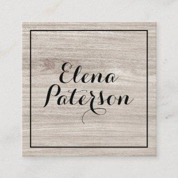 modern gray wood geometric black frame handmade square business card