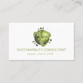 modern green earth logo sustainability consultant business card