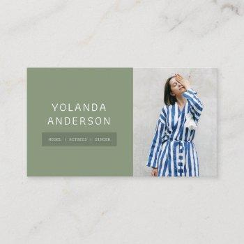 modern green fashion stylist actor model photo business card