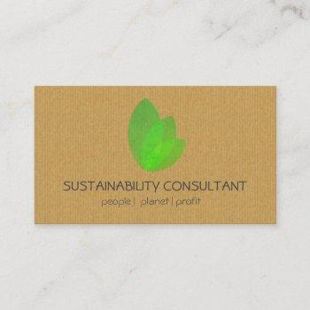 modern green leaf logo sustainability consultant business card