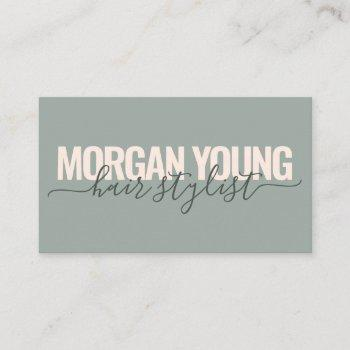 modern green pink hair stylist script signature business card