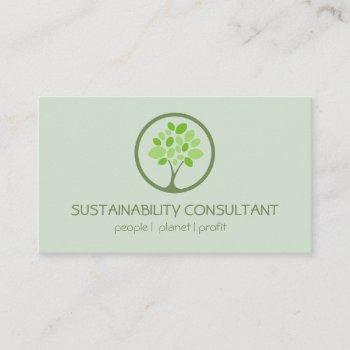 modern green tree logo sustainability consultant business card