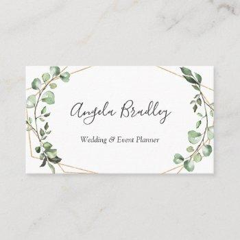 modern greenery eucalyptus geometric frame business card