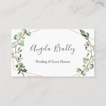 modern greenery eucalyptus geometric frame business card