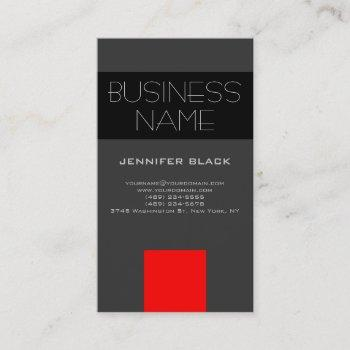 modern grey black red consultant business card