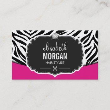 modern hair stylist black pink zebra print diamond business card