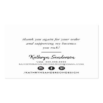 Small Modern Hand Lettered Thank You Black White Writing Square Business Card Back View