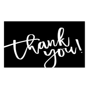 Small Modern Hand Lettered Thank You Black White Writing Square Business Card Front View