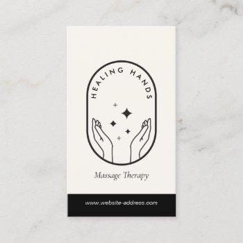 modern healing hands massage black and ivory logo business card