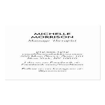 Small Modern Healing Hands Massage, Wellness Gold Logo Business Card Back View