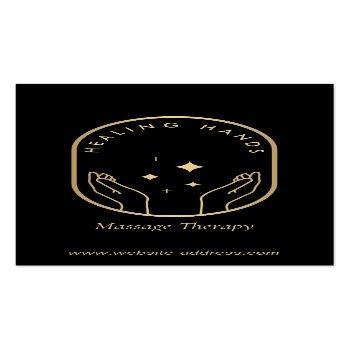 Small Modern Healing Hands Massage, Wellness Gold Logo Business Card Front View