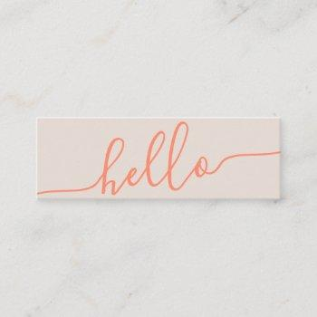 modern hello spring orange tan typography minimal mini business card