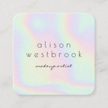 modern holographic makeup artist gradient rainbow square business card