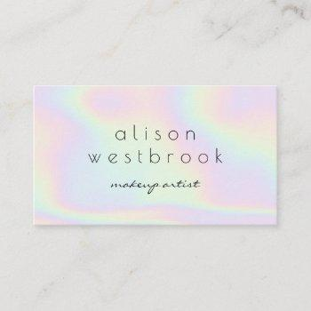 modern holographic makeup artist pastel rainbow business card