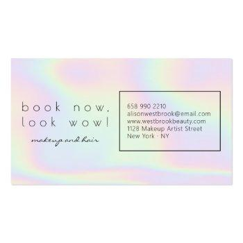 Small Modern Holographic Makeup Artist Pastel Rainbow Business Card Back View