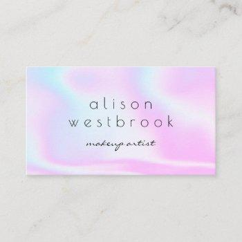 modern holographic makeup artist pink rainbow business card