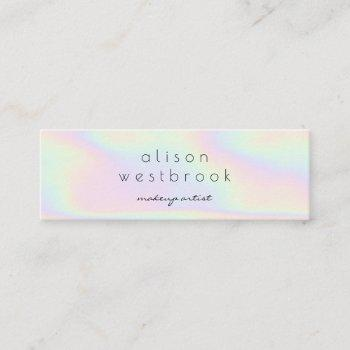 modern holographic makeup artist unicorn rainbow mini business card