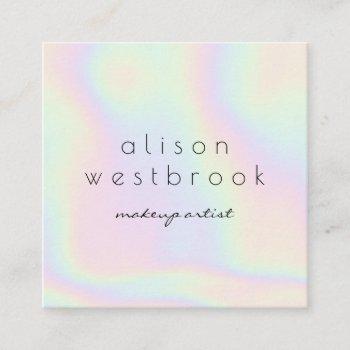 modern holographic makeup artist unicorn rainbow square business card