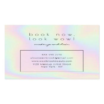 Small Modern Holographic Makeup Artist Unicorn Rainbow Square Business Card Back View