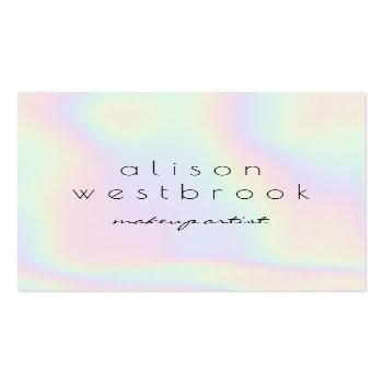 Small Modern Holographic Makeup Artist Unicorn Rainbow Square Business Card Front View